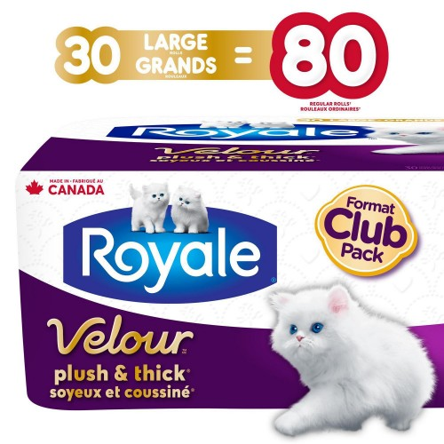 Royale Velour, Plush and Thick Toilet Paper, 30 Large equal 80 rolls