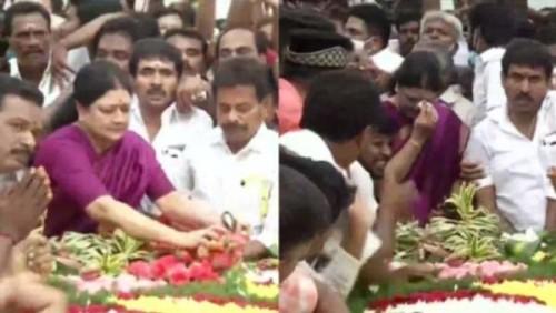 ஜெயலலிதா நினைவிடத்தில் கண்ணீர் மல்க சசிகலா மரியாதை